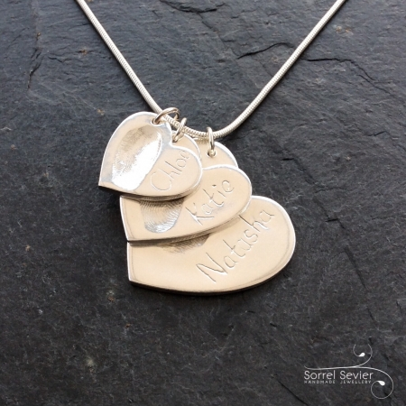 3 Hearts Fingerprint Necklace