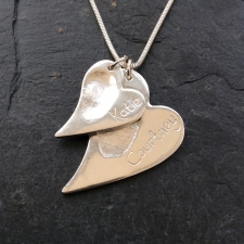 2 irregular Heart shape Fingerprints Necklace