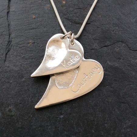 2 irregular Heart shape Fingerprints Necklace