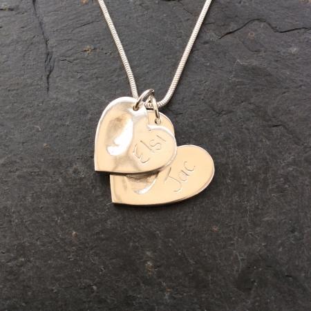 2 Hearts Fingerprint Necklace