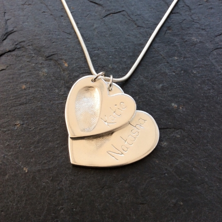 Large 2 Hearts Fingerprint Necklace