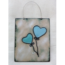 Green + Blue Heart balloons