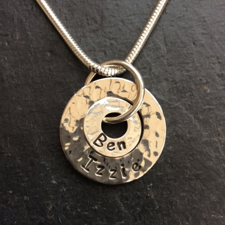 2 rings personalised necklace