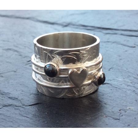 Heart + Hematite spinning ring