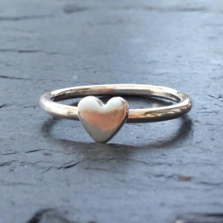 Tiny silver heart ring