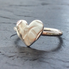 Textured silver heart ring