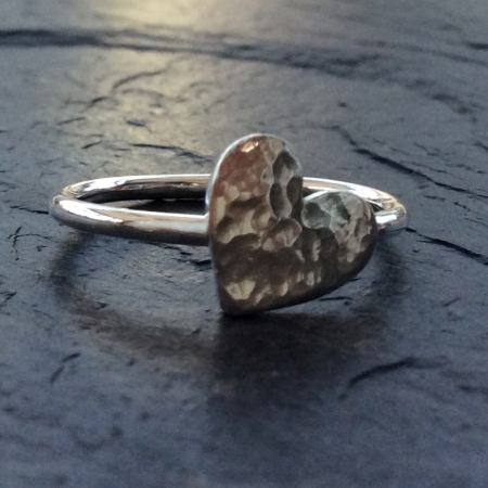 Hammered silver heart ring