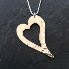 Irregular outline heart necklace - large