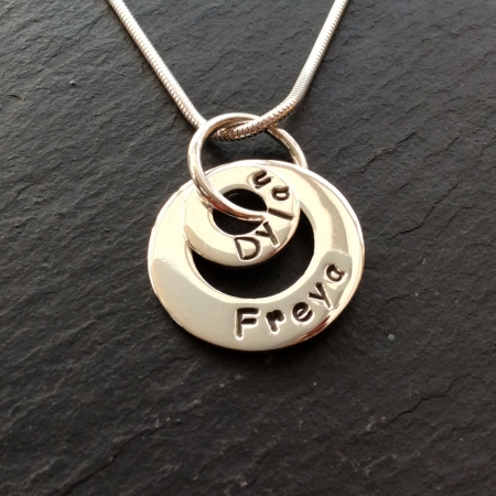 Polished 2 rings personalised necklace