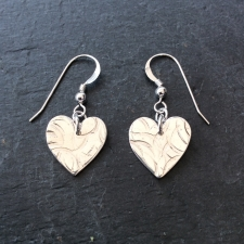 Textured heart dangle earrings