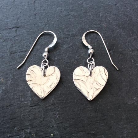 Textured heart dangle earrings