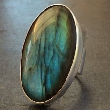 Adjustable Labradorite Oval Ring