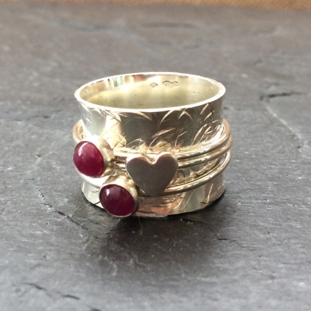 Ruby's + Heart Spinning Ring