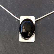 Black onyx oval necklace