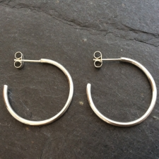 1inch silver hoop earrings
