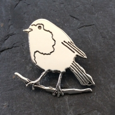 Robin on a perch brooch