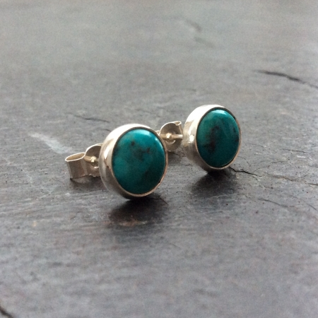 Chinese turquoise stud earrings