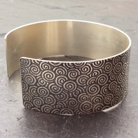 Spiral patterned oxidised cuff bracelet -large