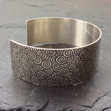 Spiral patterned oxidised cuff bracelet