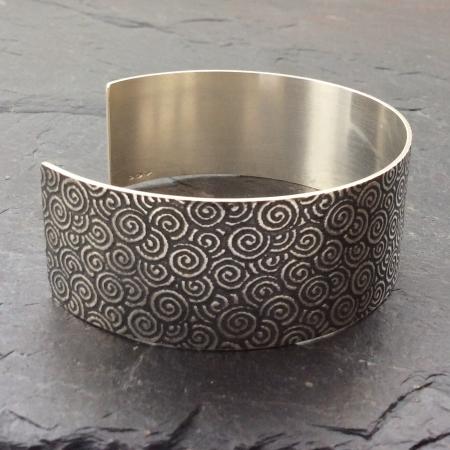 Spiral patterned oxidised cuff bracelet