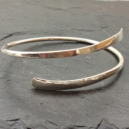 Silver Spiral Shaped Upper Arm Bangle
