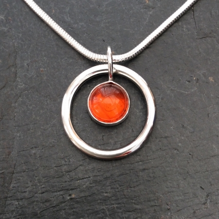 Amber in a circle necklace