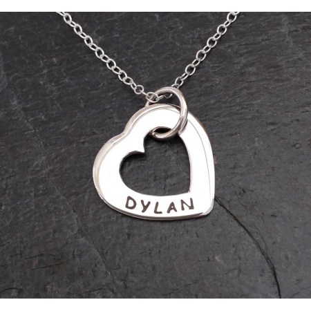 Personalised outline heart necklace - small