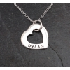 Single personalised outline heart necklace - small