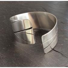 Oxidised lines large cuff bracelet
