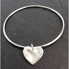 Fingerprint heart stacking bracelet