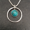 Turquoise in a circle necklace