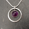 Amethyst in a circle necklace