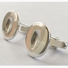 Silver Fingerprint Cufflinks - round