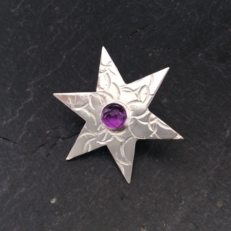Amethyst Star Brooch