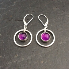 Amethyst in a circle dangle earrings