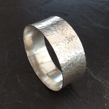 Wide hammered bangle