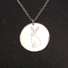 Hare on a disc necklace