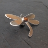 Dragonfly brooch with Amber