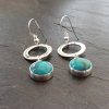 Chinese Turquoise and Silver circle dangle earrings