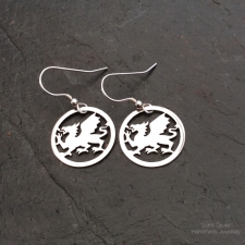Welsh Dragon dangle earrings