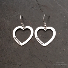 Cariad outline heart dangle earrings