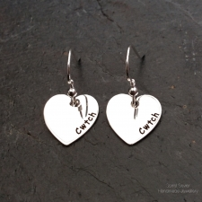 Cwtch Welsh heart dangle earrings