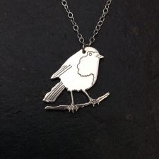 Robin on a perch necklace