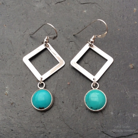 Turquoise + Square dangle earrings