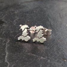 Welsh Map Stud Earrings