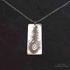 Peacock Feather Rectangle Pendant