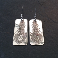 Peacock Feather Rectangle Dangle Earrings