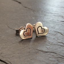 Heart + Inner Heart Stud Earrings