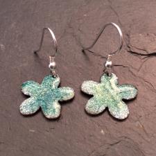 Green + White & Yellow speckle flower earrings