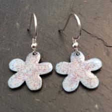 Blight Blue + Red & Yellow Speckle Flower Earrings